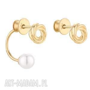 sotho złote asymetryczne kolczyki węzełki z perłami