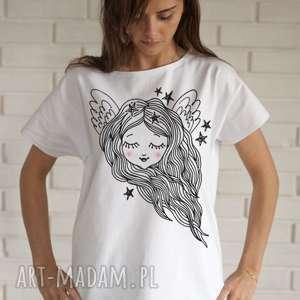 ANIOŁ koszulka bawełniana biała z nadrukiem S/M, bluzka, koszulka, biała, bawełna