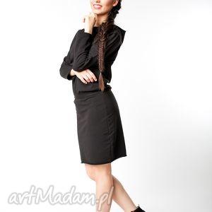 s/m sukienka z kapturem czarna, bawełna, dzianina, wiosna, eko, sportowa, luźna