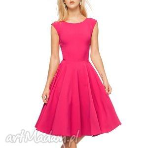 Sukienka SCARLETT Midi Amarant , sukienka, amarant, midi, rozkloszowana, róż, koło