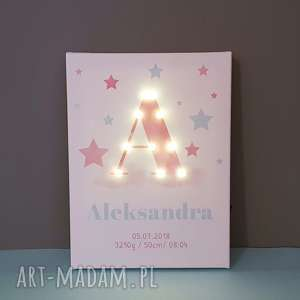 świecąca litera led personalizowany obraz pastelowa metryczka prezent