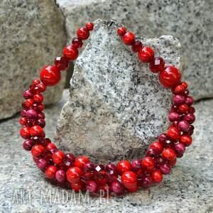 czerwona kolia, czerwone korale drewniane, naszyjnik z kulek drewnianych
