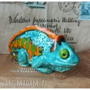 handmade ceramika kameleon figurka