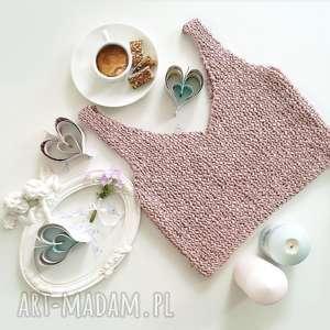 bluzki krótki top różowy, top, bawełniany, dzianinowy, ramiaczka, krótki