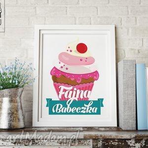 plakat fajna babeczka, ilustracje, autorskie, święta, prezent, dekoracje
