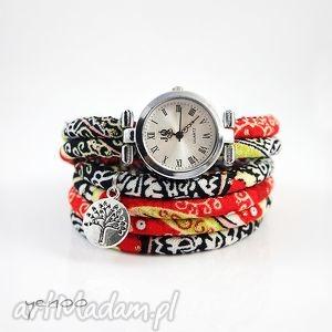 handmade zegarki zegarek, bransoletka - czerwony boho owijany