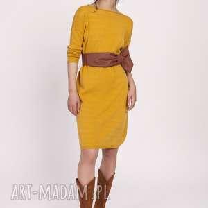 sukienki dzianinowa sukienka, swe122 musztarda, dzianina, sweter