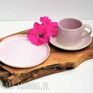 Ręcznie lepiona filiżanka ze spodeczkiem plus talerzyk ceramika