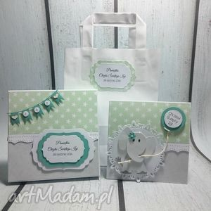 Zestaw Słonik z balonikiem w zieleni , pudełko, pamiątka, słonik, chrzest, narodziny