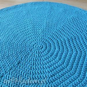 Okrągły dywan ze sznurka 120 cm w kolorze turkusowym, dywan, turkusowy, szydełko
