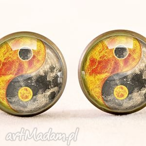 yin yang - kolczyki wkrętki - równowagi wkręty, znak