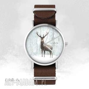 hand made zegarki zegarek - jeleń 3 brązowy, nato, unisex