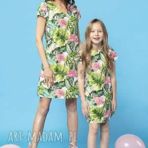 handmade sukienki komplet prostych sukienek na lato w ciekawe wzory, model 34, flamingi