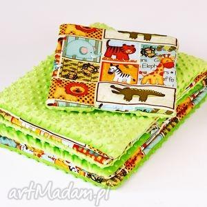 zestaw niemowlaka safari zielony - kocyk, poduszka, safari
