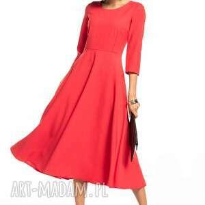 sukienki elegancka sukienka maxi z zamkiem krytym, t327, malinowa