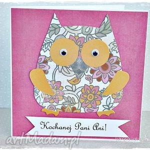 scrapbooking kartki kartka dla nauczyciela - sowa w kwiatach, kartka, nauczyciel