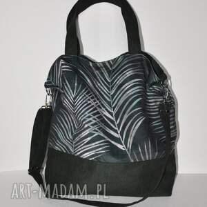 ręcznie wykonane na ramię torba - worek xxl liście palmy