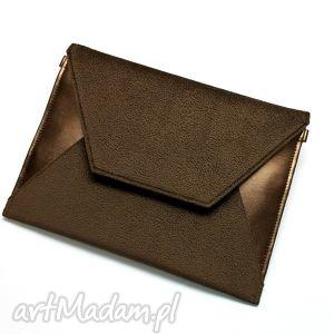 kopertówka - tkanina brązowa i skóra miedziana, wizytowa, wesele, nowoczesna, prezent