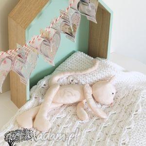 Kocyk - białe listki #1, kocyk, ażur, bawełna,