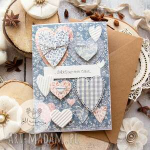 kartka z sercami, przestrzenna miłosna walentynki imieninowa