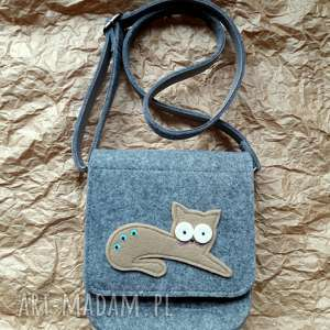 ręcznie wykonane na ramię mala torebka filcowa z kotkiem 001