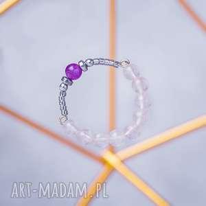 WHW High Ring - Japan Cherry, pierścionek, kamienny, kwarc, kwarc-różowy, ametyst