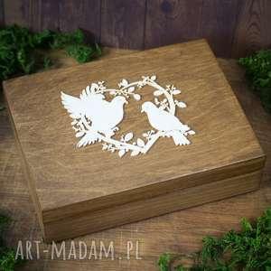 drewniane pudełko na obrączki - serce z gołąbkami, pudełko, obrączki, drewno, koronka