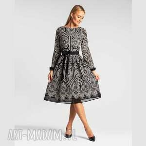 sukienki joana midi donatella czarno-biała, sukienka midi, elegancka