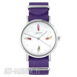 zegarki zegarek - kolorowe piórka fioletowy, nylonowy, zegarek, nylonowy pasek
