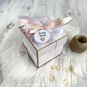 pudełko kartka na ślub wesele po godzinach - różowe