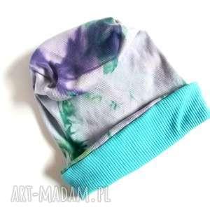ręczne wykonanie czapki czapka etno boho unisex bawełna farbowana