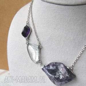 asymetryczny naszyjnik z kamieni: kryształ górski i ametyst (naszyjnik ametyst)