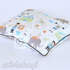 poduszka bawełniana - cyrk, poduszka, bawełniana, ecru, dziecięca, sen