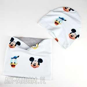 zestaw dla dziecka czapka komin dwustronny myszka, czapka, dwuustronna