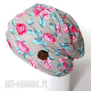 czapka damska dzianinowa w kwiaty - czapka, sport, dzinina, rower, etno, kwiaty
