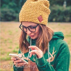 explorer pikantna musztarda - jesień, zima, czapka, włóczka, handmade