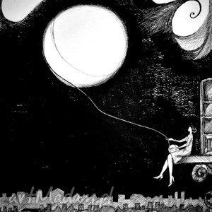 Rysunek piórkiem KSIĘŻYC Z WŁÓCZKI artystki plastyka Adriany Laube, noc, rysunek