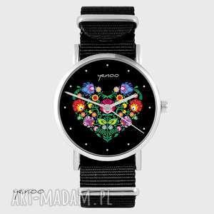 hand-made zegarki zegarek - serce folkowe, czarne czarny, nato