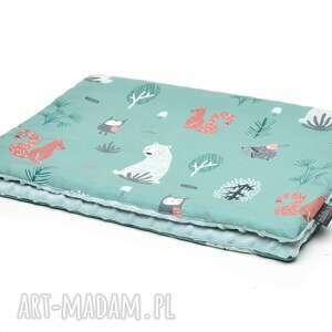 handmade dla dziecka kocyk kołderka 50 x 75 cm minky bawełna zielony las / szałwia