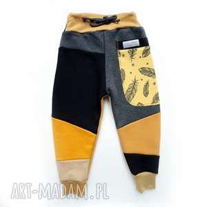 handmade ubranka patch pants spodnie 74 - 98 cm piórka