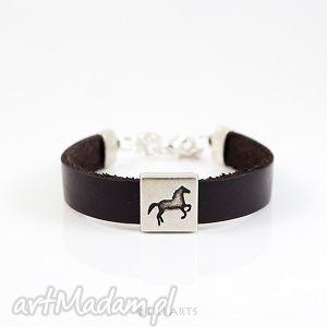 bransoletka skórzana - brązowa koń, bransoletka, skórzana, prosta