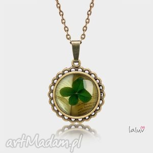 naszyjniki medalion okrągły mały lucky, koniczyna, książka, szczęście, symbol