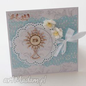 kartka na komunię Świętą w pudełku - komunia, kartka, prezent