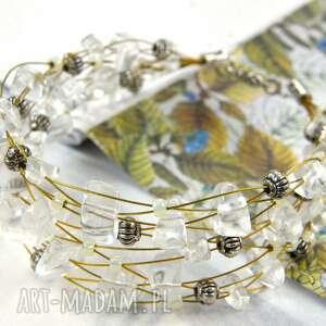 Bransoletka srebrno - kryształowa witrazka szeroka bransoletka