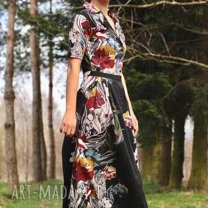 sukienka w bordowo miodowe kwiaty, boho, wiosna, koszulowa, wieczorowa