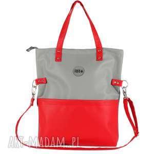 ręcznie zrobione na ramię torebka damska cube szara z nutką czerwieni