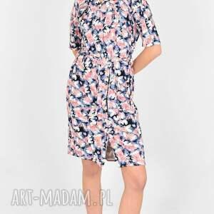 sukienka klaudia kolorowy print, wzór, na lato, koszulka
