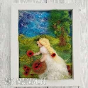 maki malowane wełną kosz pełen maków obraz z kolekcji die