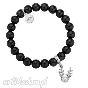 czarna bransoletka z pereł swarovski crystal ze srebrnym reniferkiem