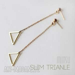 Kolczyki Slim Triangle, długie, geometryczne, minimalizm, trójkąty, łańcuszki